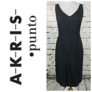 AKRIS PUNTO Wool Pleated Sheath Dress